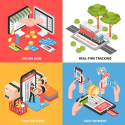 Shopping online e-commerce concept 4 isometric icons set with delivery tracking and easy payment isolated vector illustration