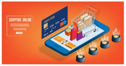Shopping online, e-commerce concept on website or mobile application for web banner, info graphics,discount coupons. Vector illustration
