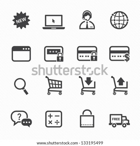 shopping online icons with