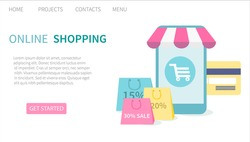 Shopping online in an online store on smartphone and mobile application. . Landing page website template. Vector illustration for web and graphic design