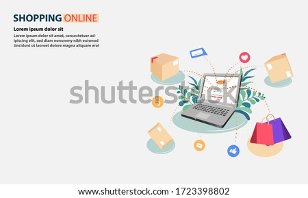 Shopping online on Computer or notebook. Products that customers shopping and parcels bounce from the Computer or notebook.