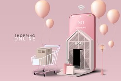 Shopping Online on Mobile Application Concept Marketing and Digital marketing. Store and shop on smartphone. Website Background Pink tone.