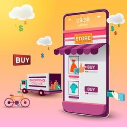 Shopping Online on Mobile VECTOR