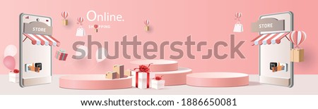 shopping online on phone with podium paper art modern pink background gifts box  illustration vector.