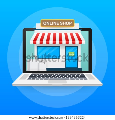 Shopping Online on Website. Online store, shop concept on laptop screen. Vector stock illustration.