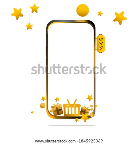 Shopping Online on website or Gold Mobile Vector Concept Digital marketing. have full moon and Stra Stock foto ©