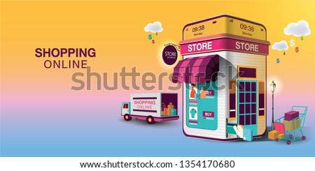 Shopping Online on Website or Mobile Application Vector