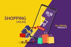 Shopping Online on Website or Mobile Application Vector Concept Marketing and Digital marketing, Yellow and purple Background.