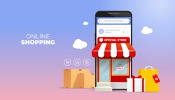 Shopping Online on Website or Mobile Application Vector Concept Marketing and Digital marketing promotion. on 3d smartphone view front store with bag and gift box illustration.