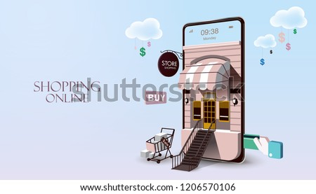 Shopping Online on Website or Mobile Application Vector Concept Marketing and Digital marketing. Horizontal view. VECTOR version3