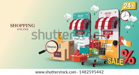 Shopping Online on Website or Mobile Application Vector Concept Marketing and Digital marketing, Long Background