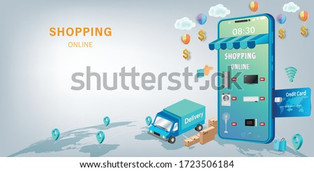 Shopping Online on Website or Mobile Application Vector Concept Marketing and Digital marketing, Online Application Delivery service concept.