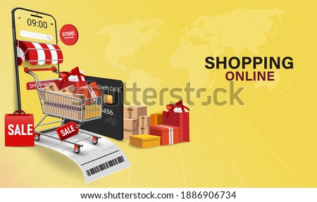 Shopping Online on Website or Mobile Application Vector Concept Marketing and Digital marketing.Online shopping store with mobile , credit cards and shop elements.Vector illustration.