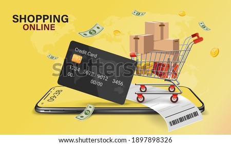 Shopping Online on Website or Mobile Application Vector Concept Marketing and Digital marketing, Online Application Delivery service concept.Cashless society.Credit card online shopping via mobile app
