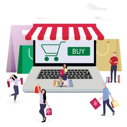 Shopping online, people buy in internet shop use laptop. Vector buying internet, smiling people with bag from market, buy in store and retail electronic illustration