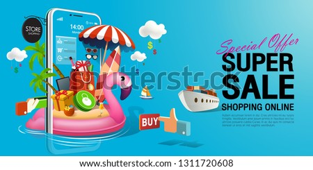 Shopping Online, Special Offer Summer Super Sale, Cyan Background on mobile