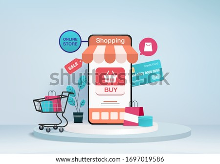 shopping online store, mobile e-commerce concept with podium blue background, Online shopping concept mobile application sale. shopping card, credit card. Online sale store device 3d vector rendering