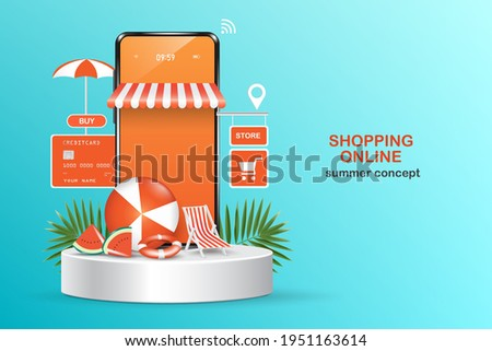 Shopping online template via smartphone application,summer vacation themed illustrations for promotion on shopping web platform,online shopping summer sale concept design