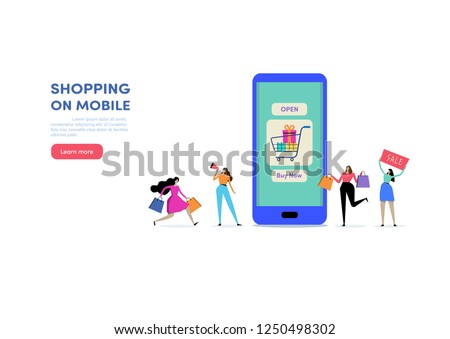 Shopping online via Smartphone. Shop on mobile. E-commerce, Consumerism, Retail, Sale. People vector illustration. Flat cartoon character graphic design. Landing page template,banner,flyer,poster,web #1250498302