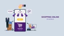 Shopping online vie smartphone, Ordering on screen, Flat design vector illustration, purple tone.