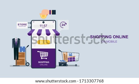Shopping online vie smartphone, Ordering on screen, Flat design vector illustration, purple tone. Foto d'archivio ©