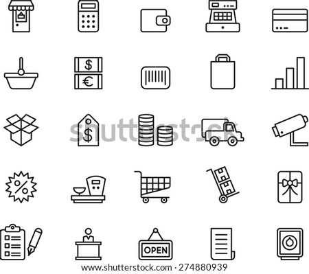 SHOPPING outlined icon set