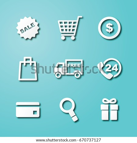 shopping paper art icons, vector elements design