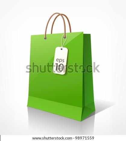 Shopping paper bag green empty, vector illustration