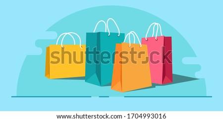 Shopping paper bag yellow empty, vector illustration