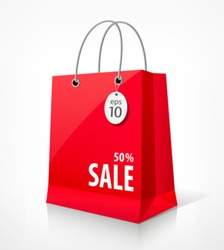 Shopping paper red bag empty, vector illustration