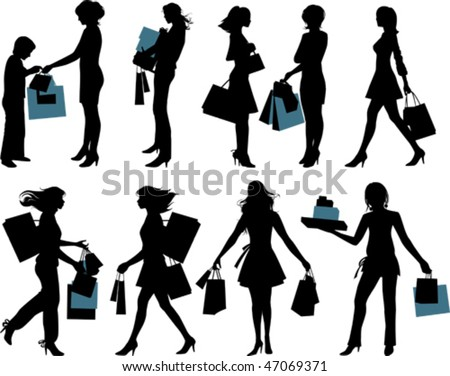 Shopping people. All elements and textures are individual objects. Vector illustration scale to any size.