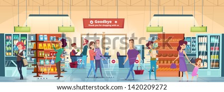 Shopping people. Characters in retail food market with shopping cart buying grocery products vector. Supermarket interior, customer buying food and add to cart illustration