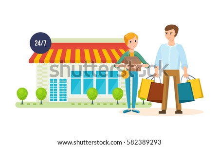 shopping people concept young