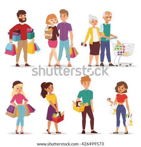shopping people with bags