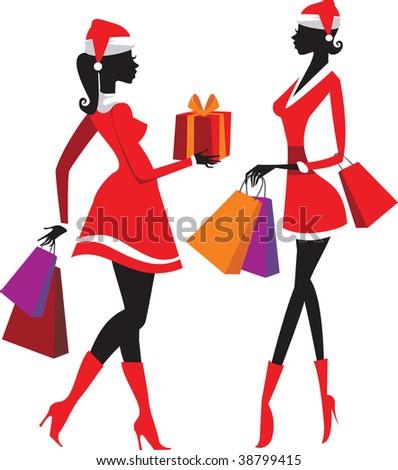 shopping pretty santa women