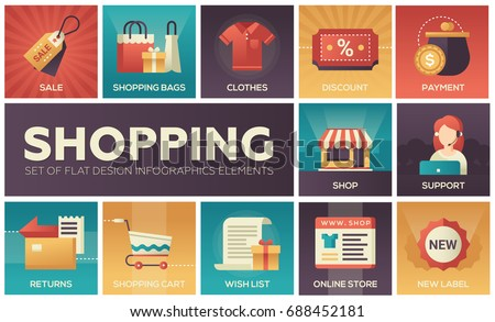 Shopping process - modern vector flat design icons, elements set with gradient colors. Online, secure, delivery, auction, coupon, assistance, call, location, tracking code, gift, money back, shipping