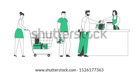 Shopping Queue in Supermarket, Customer Characters with Goods in Paper Bags Stand at Cashier Desk Paying for Purchases Credit Cards. Sale, Consumerism. Cartoon Flat Vector Illustration in Line Art