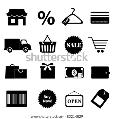 Shopping related objects icon set
