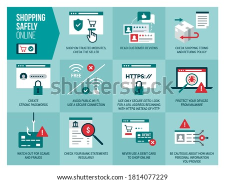 Shopping safely online infographic: safety and cyber security tips for secure orders and transactions