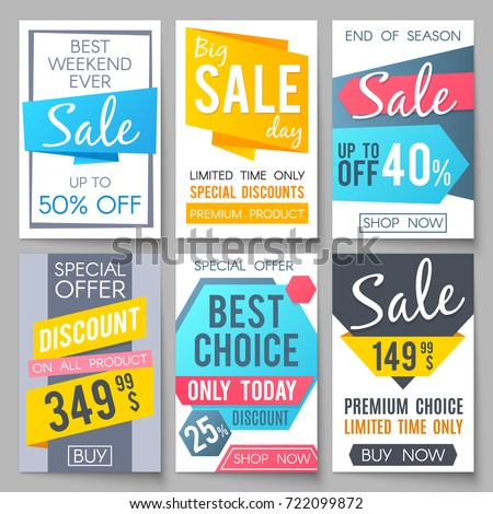 Shopping sale vector backgrounds. Retail promotional banners for web newsletter. Special sale and promotion poster, offer and promo illustration