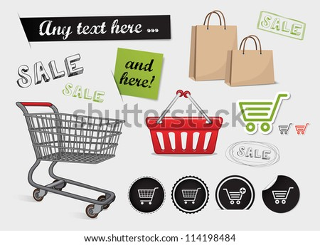 Shopping set, shop icons, basket, online shopping and sale