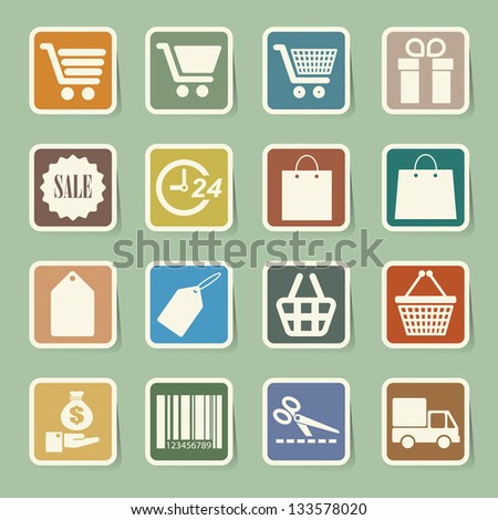 Shopping sticker icons set. Illustration eps 10