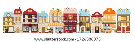 Shopping street in European city. Street with stores and shops. Banner with building facades. Flat vector illustration