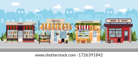 Shopping street in european town with book, wine, flower shops and supermarket. Urban landscape. Banner with building facades. Flat vector illustration, cityscape