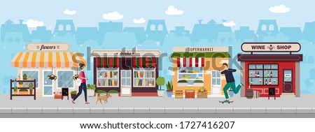 Shopping street in european town with young people walking with a dog and skateboarding. Urban landscape. Banner with building facades. Flat vector illustration