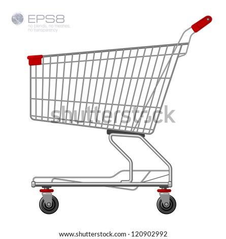 Shopping supermarket cart. Vector.