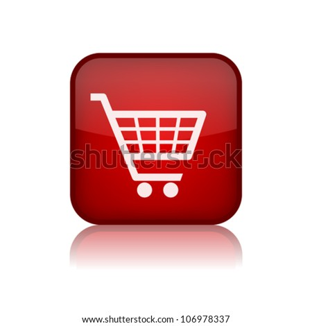 Shopping trolley button, eps10 vector