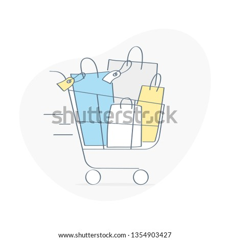 Shopping trolley, cart full of goods, shop trolley or basket in the supermarket. Online shopping, sales, purchases concept. Flat outline vector illustration on white.
