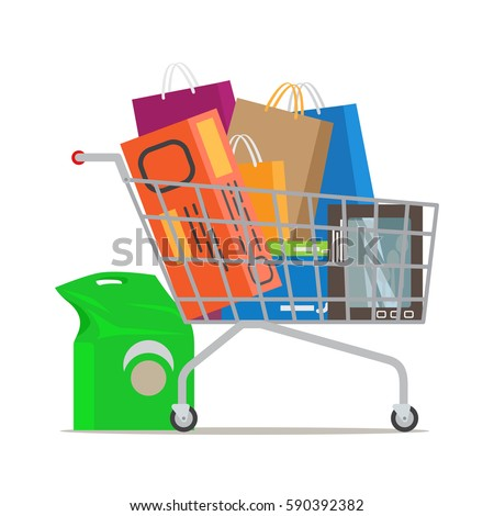 Shopping trolley full of bags and boxes and with pack near on white background. Shopping-themed isolated vector illustration of cart with stuff. Biggest dream of shopaholic. Purchases in cart