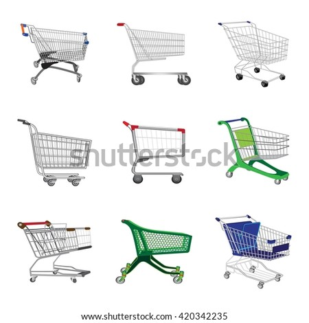 Shopping trolley. Shopping carts. Business Retail Equipment. Warehouse trolly wagon. Vector illustration.